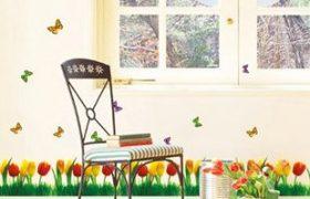 Decal hoa chân tường A303